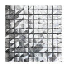 Accent tile    Eden Mosaic Tile EMT_AL02-SIL-CB-11PK Medium Square Pattern Aluminum Mosaic Decorative Tile (11 Sheets) - Lowe's Canada
