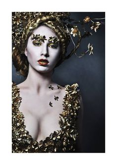 #gold #makeup #flowers #dress  Mua&Costume:Dominika Dzieniszewska Photo: Malwina de Brade