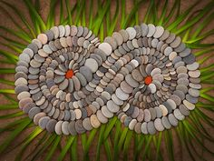 My Theme of the Day is Land Art or Earth Art ! Pebble Mosaic, Stone Mosaic, Pebble Art, Mosaic Art, Rock Mosaic, Land Art, Rock Sculpture, Sculptures, Ribbon Sculpture