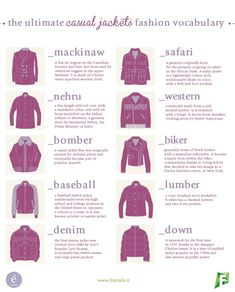The Ultimate Casual Jackets Fashion Vocabulary from Fractals LAB/enerie Fashion and Lifestyle @ fractals. jwt : The Ultimate Casual Jackets Fashion Vocabulary from Fractals LAB/enerie Fashion and Lifestyle @ fractals. Fashion Terminology, Fashion Terms, Fashion Mode, Fashion 101, Style Fashion, Fashion Outfits, Fashion Design Drawings, Fashion Sketches, Lila Outfits