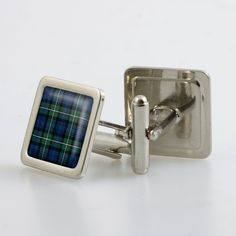 Steel cufflinks set with resin domed tartan - only from ScotClans. The cufflinks are set with a resin domed cabochon in the chosen tartan. Set comes in a metallic finish box. Ancient and Modern tartans pictured
