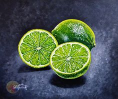 Lime Painting Lime Fruit Exotic Fruit 10x8 by VitaAcrylicOilArt