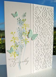 image:Life, sentiment: Out on a Limb Sentiments (both stamp sets available from PTI), embossing folder: cuttlebug Textile, scor-pal to make the double lines separating the embossing from the image. butterflies: Martha Stewart punch.