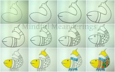 Indian Folk Art - Painting a simple Madhubani Fish in 12 steps - Artsy Craftsy Mom Madhubani painting or Mithila painting is a style of Indian painting Madhubani Paintings Peacock, Madhubani Art, Pichwai Paintings, Indian Art Paintings, Acrylic Paintings, Worli Painting, Painting For Kids, Step By Step Painting, Step By Step Drawing