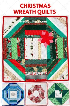 Deck your halls with four beautifully simple little Christmas wreath wall hangings you can make to fill your home with holiday spirit. Make one of these easy little quilts in a day or less. Christmas wreath quilts are perfect for decorating your own home for the holidays, or to make as a gift for someone you love. Antique Quilts, Vintage Quilts, Christmas Wreaths, Christmas Crafts, Christmas Decorations, Quilt In A Day, Quilting For Beginners, Book Quilt, Quilt Patterns Free