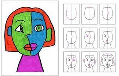 Art Projects for Kids: Another Cubism Face with step by step diagrams.: