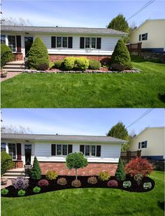 Before after; new foundation plantings – wide, curved bed; extends past the corner of the house #Frontyardlandscaping #gardeningandlandscape