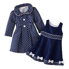 Navy Polka-dot coat & dress set (those bows gotta go! Frocks For Girls, Kids Frocks, Little Girl Dresses, Toddler Dress, Baby Dress, Dress Set, Coat Dress, Little Girl Fashion, Kids Fashion