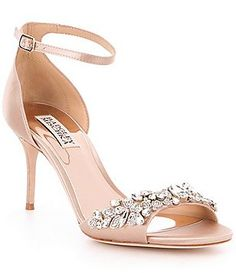 dfd10c64875fa1 Badgley Mischka Bankston Jeweled Satin Ankle Strap Dress Sandals High  Hells