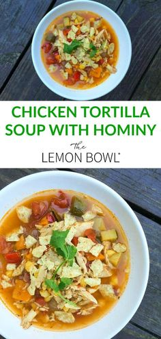 mexican chicken tacos This nourishing bowl of chicken tortilla soup with hominy is brimming with Mexican flavors and packed with vitamins and minerals. Mexican Tortilla Soup, Mexican Soup Recipes, Chicken Tortilla Soup, Taco Soup, Chicken Tacos, Chicken Soup, Kitchen Recipes, Cooking Recipes, Healthy Recipes