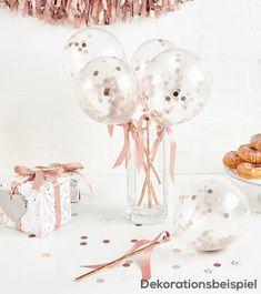 c36d7b3f1d Party Deko Dekoration dekorieren Luftballons transparent rosa Band Konfetti  feiern