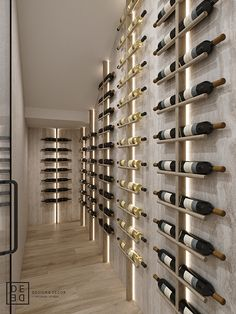 DE&DE/Villa on Cyprus: first floor on Behance Wine Rack Design, Wine Cellar Design, Glass Wine Cellar, Wine Rack Wall, Wine Wall, Room Interior, Interior Design Living Room, Home Wine Cellars, Wine Display