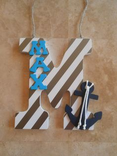 Nursery Wall Letters Anchor Decor Nautical by LaurenAnnaLei, $16.50