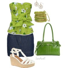 Spring green, created by saraannr on Polyvore