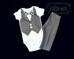 Wedding Baby Suit - Gray Vest Bodysuit and Pants - Choose Bow Tie - Ring Bearer Baptism Graduation Fathers Day - Baby Formal Wear Attire Tux by alittlewoo