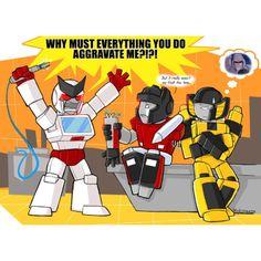 Ratchet can be scarier than Megatron! #sunstreaker #sideswipe #ratchet #transformers
