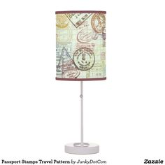 Passport Stamps Travel Pattern Table Lamp May 7 2017 #spring #junkydotcom