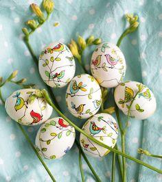 Easter eggs  black marker + ink #eastereggs #easter #eggs #birds #spring
