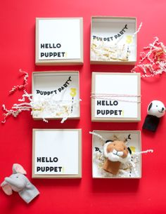 Puppet Party invite using finger puppets from Ikea