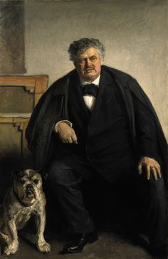 The danish painter Carl Locher with his dog Tiger, by Michael Ancher, 1909.