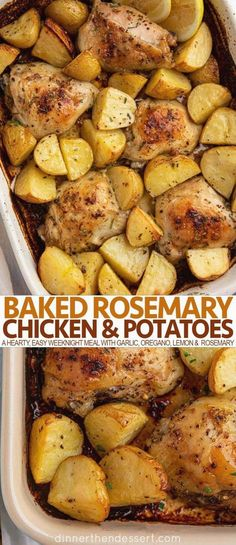 Baked rosemary chicken and potatoes are a hearty yet easy weeknight meal... Th chicken thighs... Rlic... Mon... Tatoes... Egano and fresh rosemary. Chicken Thighs Dinner, Oven Baked Chicken Thighs, Baked Chicken Drumsticks, Easy Baked Chicken, Baked Chicken Breast, Baked Rosemary Chicken, Oven Chicken And Potatoes, Teriyaki Chicken, Rotisserie Chicken