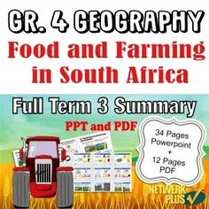 This pack contains a summary of Grade 4 Term 3 Geography work with beautiful accompanying illustrations. It includes a PowerPoint pages) and PDF print-friendly pages). This is great for exam prep or class handouts. Farm Facts, History Education, Social Science, Summary, Geography, Teaching Resources, Homeschool, Presentation, Classroom