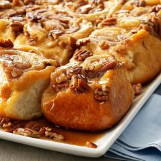 Tender Pecan Sticky Buns Recipe -These homemade caramel rolls have the old-fashioned goodness my family craves. Tender and nutty, the buns disappear fast on Christmas. —Julia Spence, New Braunfels, Texas Pecan Sticky Buns, Pecan Rolls, Gooey Cinnamon Rolls Recipe, Homemade Cinnamon Rolls, Cinnamon Recipes, Homemade Breads, Apple Recipes, Sweet Recipes, Caramel Rolls