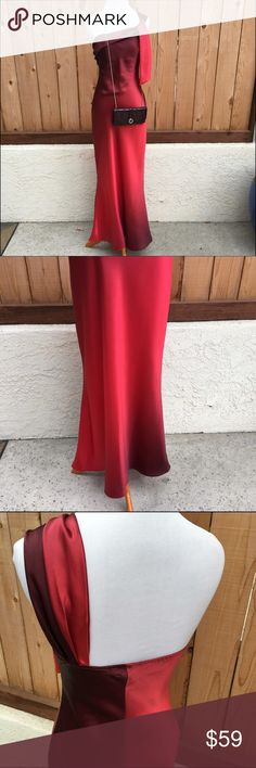 "🆕Red & Burgundy Formal Dress🍃🍂 Red & burgundy long formal dress has one shoulder wrap. Content is beautiful 100% Polyester satin. Measurements are 14"" pit to pit & 51.75"" from top of dress to bottom not including the one shoulder wrap. Waist is 13.25"". In excellent condition with no damage. Wishes Wishes Wishes Dresses One Shoulder"