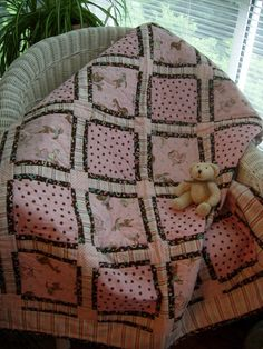 Pink and brown baby girl quilt. OMG I love this pattern and colors