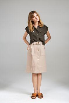 CROP SHIRT AND HIGH WAIST SAFARI SKIRT Skirt Patterns Sewing, Crop Shirt, Midi Skirt, High Waisted Skirt, Women Wear, Contemporary, Skirts, Safari, Collection