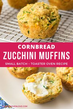 Cajun Delicacies Is A Lot More Than Just Yet Another Food Cornbread Zucchini Muffins - Make Just 6 Moist And Tender Muffins With This Easy Small Batch Recipe. Ideal For A Quick Breakfast, Snack Or Dunking In A Bowl Of Chili. Zucchini Muffins, Zucchini Cornbread, Cornbread Muffins, Savory Muffins, Savory Breakfast, Healthy Muffins, Muffin Recipes, Bread Recipes, Toaster Oven Recipes