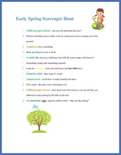 Spring Scavenger Hunt printable - kids will love finding the fun ways that nature changes in the spring!