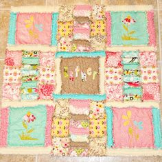 Mat not be easy? Applique cows and name!  Sew Dang Cute Crafts: Shabby Spring Rag Quilt