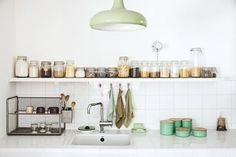 Kitchen with Glass Jars | Bolig Magasinet | Pictures by Morten Holtum