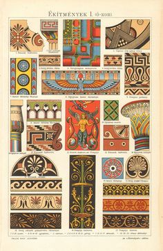 1893 Ancient Ornaments, Assyrian, Egyptian, Greek, Etruscan and Roman Original…