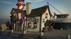 Harbour Cafe Picture  (3d, cartoon, cafe, harbour)
