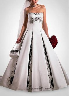 Beautiful Elegant Satin A-line Strapless Wedding Dress In Great Handwork - Buyanewdress.com