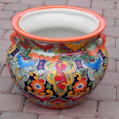 Large Mexican Talavera Bean Pot Planter 011 | eBay