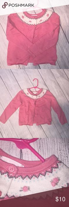 Pink Rose Janie & Jack Cardigan In excellent preloved condition. My daughter wore this very few times! Size is 3. If you have any questions let me know. Janie and Jack Shirts & Tops Sweaters