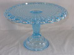 EAPG Pattern Glass ~ Thousand Eye ~ Blue Cake Stand