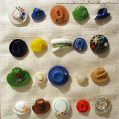 Framed glass hat buttons~