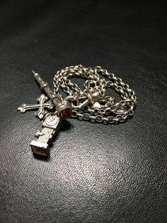 Vintage Silver Charm Necklace, Silver Pencil Necklace, Silver Pendant Necklace…