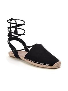 Sueded Lace-Up Espadrilles for Women
