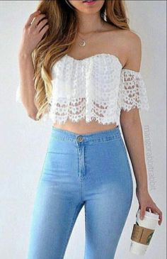 Crop Top Outfits The summer season demands light, airy, breathable dresses in fabrics like cotton and in soft, muted colors that reflect the sunlight. There are multiple options for women's s… Teenage Outfits, Teen Fashion Outfits, Girly Outfits, Outfits For Teens, Trendy Outfits, Cool Outfits, Blue Outfits, Teens Clothes, Women's Clothing