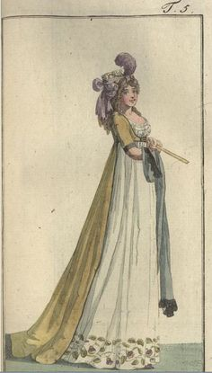 Ch Mrs Quarley–Bix wearing a gown with a train. A turban was set on her head. This pic - Journal des Luxus end der Moden 18th Century Clothing, 18th Century Fashion, 19th Century, Regency Dress, Regency Era, Patterns Of Fashion, Fashion Prints, Historical Costume, Historical Clothing
