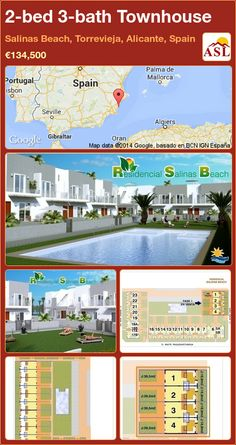 Townhouse for Sale in Salinas Beach, Torrevieja, Alicante, Spain with 2 bedrooms, 3 bathrooms - A Spanish Life Portugal, Torrevieja, Local Bars, Alicante Spain, Murcia, Double Bedroom, Gated Community, Shopping Mall, Ground Floor