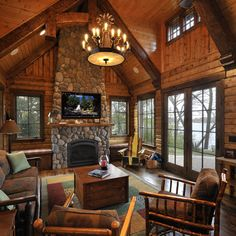 Log Cabin Fireplaces | Log cabin - great room with fieldstone fireplace on exterior ... | Ca ...