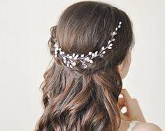Bridal pearl floral headpiece, Wedding freshwater pearl and crystal vine (curl), Bridal silver nacre comb. Wavy nacre leaf crown