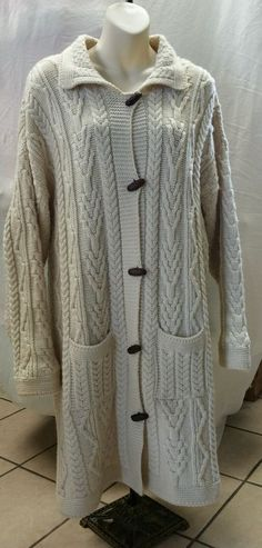 Vintage ARANCRAFTS 100 % Merino Wool IVORY Sweatercoat Size XL Made in Ireland #Arancrafts #Sweatercoat