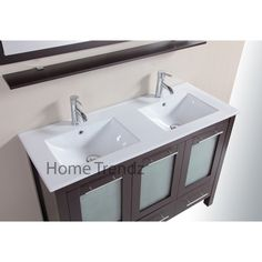 48 Inch Freestanding Double Espresso Wood Bathroom Vanity   Include White  Integral Sinks, Faucets